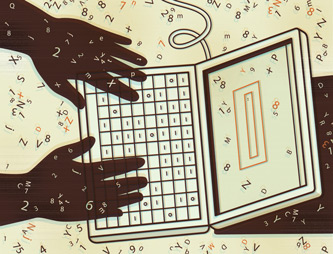 Illustration of hands working on a laptop