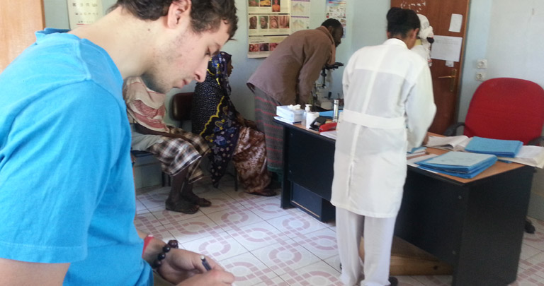 Jake Puzycki '14 working on an independent research project in Ethiopia