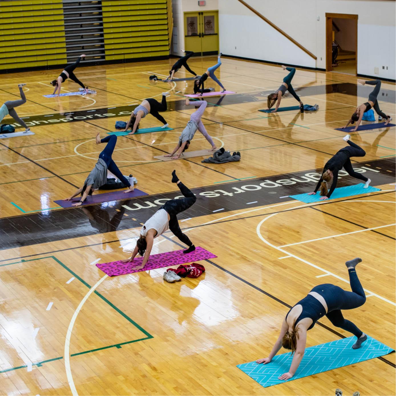 students doing yoga during Wellness Week