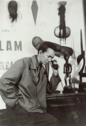 Cuban artist Wifredo Lam in his studio in 1950.