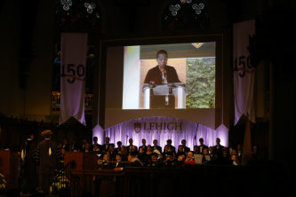 This year's Founder's Day included a live feed from the viewing party in Grace Hall.