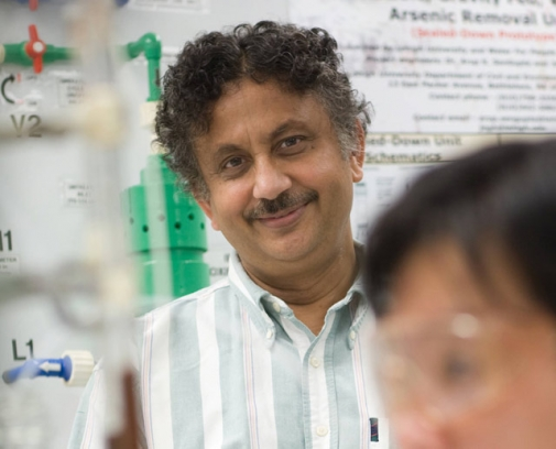 The hybrid ion exchangers that Arup SenGupta has developed have been incorporated into water and wastewater treatment processes around the world. (Photo courtesy of Rossin College)
