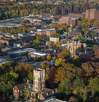 Aerial photo of Lehigh University's campus