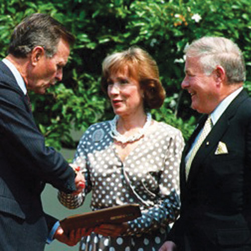 Connie and Howard Clery with President Bush