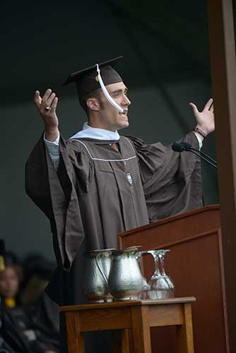 Jarred Barnes '13, president of the Class of 2013, delivers the Senior Class Remarks.