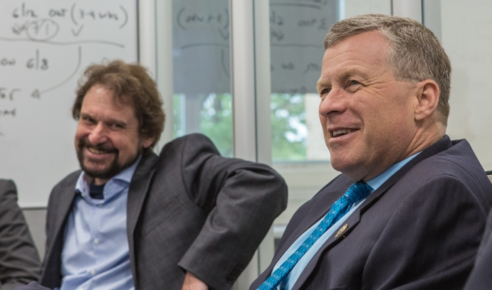 U.S. Rep. Charles W. Dent (right), with Volkmar Dierolf, physics department chair, said here last week that the research being done at Lehigh's Center for Photonics and Nanoelectronics would have a lasting impact. (Photo by Christa Neu)