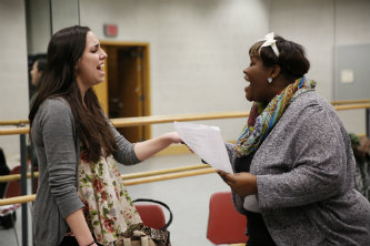 Becca Fryer '17 rehearses with Kiyaana Cox-Jones of Greater Shiloh Church.