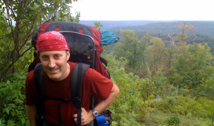 Benjamin Felzer, shown hiking the Black Forest Trail in north-central Pennsylvania, studies the impact of land development on carbon dynamics. (Photo courtesy of Benjamin Felzer)