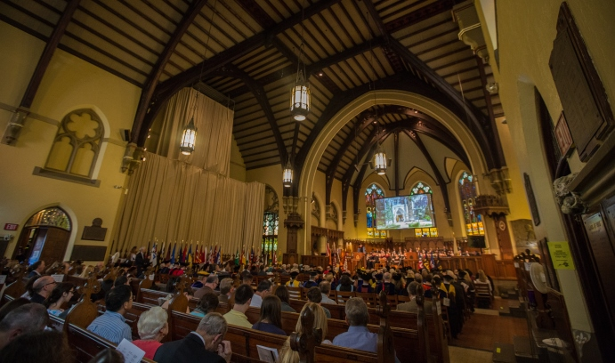 The packed crowd at Packer Memorial Church also enjoyed the music of the Lehigh University Choir led by Steven Sametz and the Mainstreet Brass quintet.