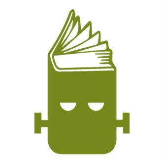 Frankenreads logo, green Frankenstein head in shape of open book
