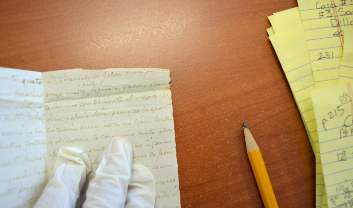 Barbara Zepeda Cortes studies Galvez's archives in Spain.
