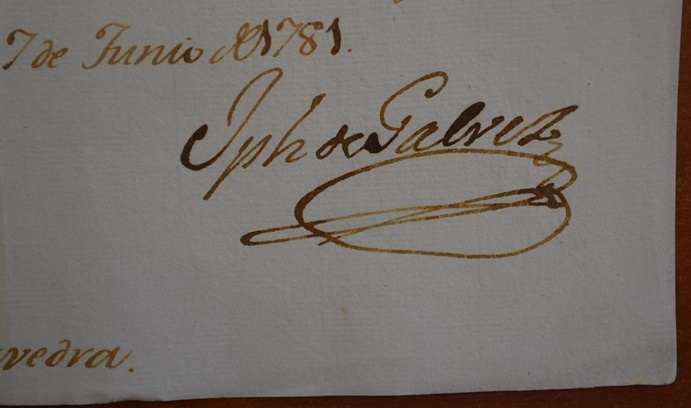 Gálvez's signature appears on a Royal Order to Francisco de Saavedra.