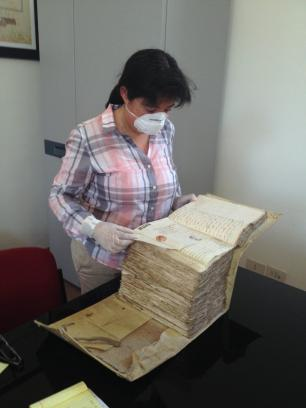 Barbara Zepeda Cortes studies Galvez's archives in Naples, Italy..