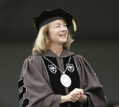 Lehigh President Alice P. Gast speaking to graduates at 2012 commencement