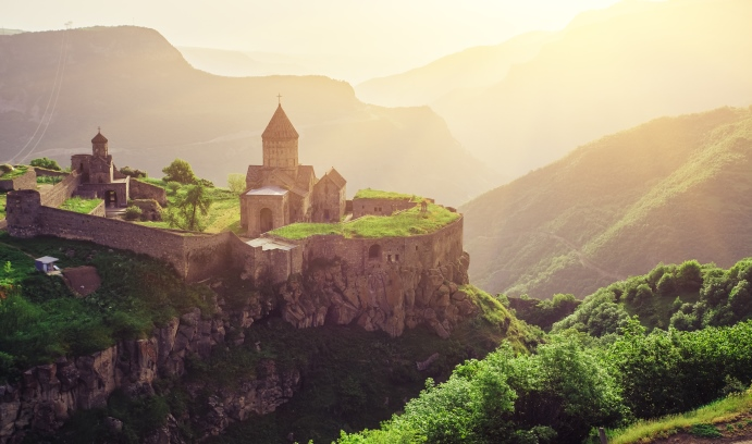 The Tatev Monastery, a ninth-century Armenian Apostolic monastery, is located in southeastern Armenia. In an upcoming book, Arman Grigoryan is exploring the obstacles to Armenia's democratic transition. (Image by iStock-Volodymyr Goinyk)