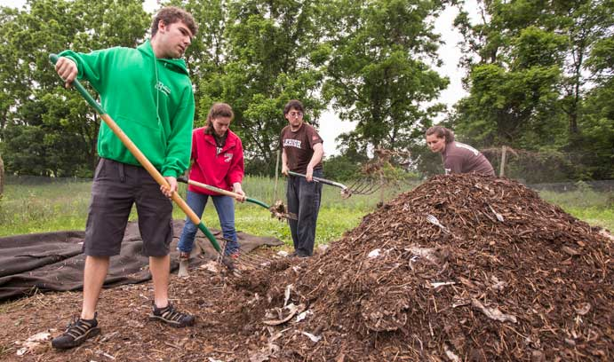 The GR2OW team turns the compost pile at the Lehigh Community Garden on the Goodman campus. From left, Alec Entress, Tori Wiedorn, Ben Cicchillo and Aly Lang.