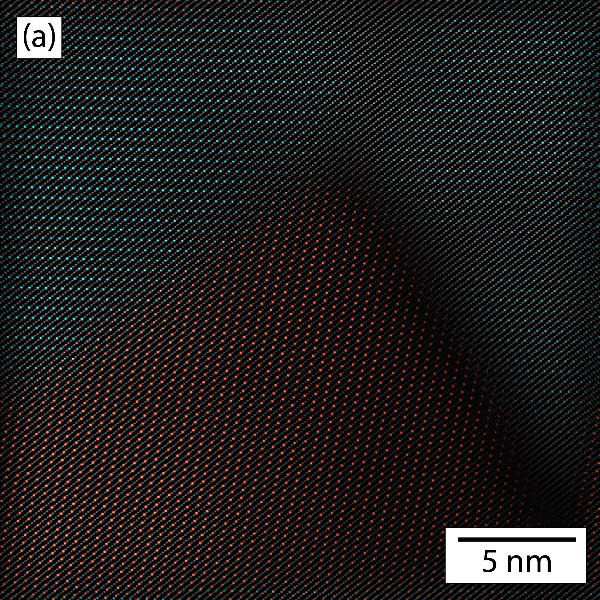 A filtered atomic resolution High-Angle Annular Dark Field (HAADF) image