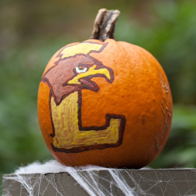 LU hawk painted on pumpkin