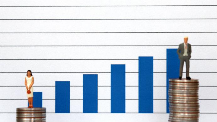 Illustration demonstrating pay gap between men and women.
