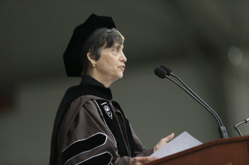 Jane P. Jamieson '75, a member of Lehigh's board of trustees giving speech at 2012 commencement