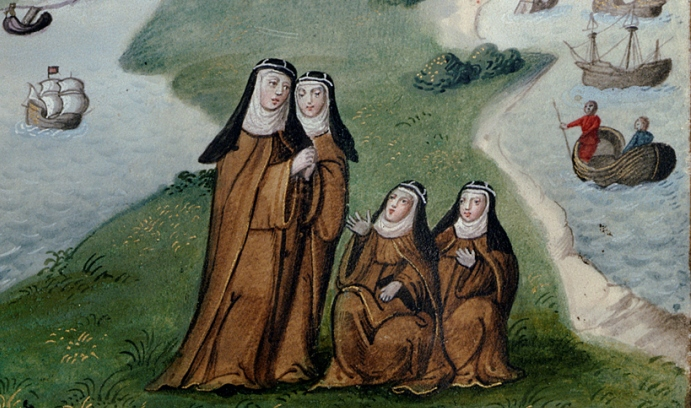 A detail from the cover image of Jenna Lay's new book depicts the exile from England of the nuns from Syon Abbey. The image was taken from an illuminated manuscript that was created in Lisbon, where the nuns reestablished the abbey. (Image courtesy of Jen