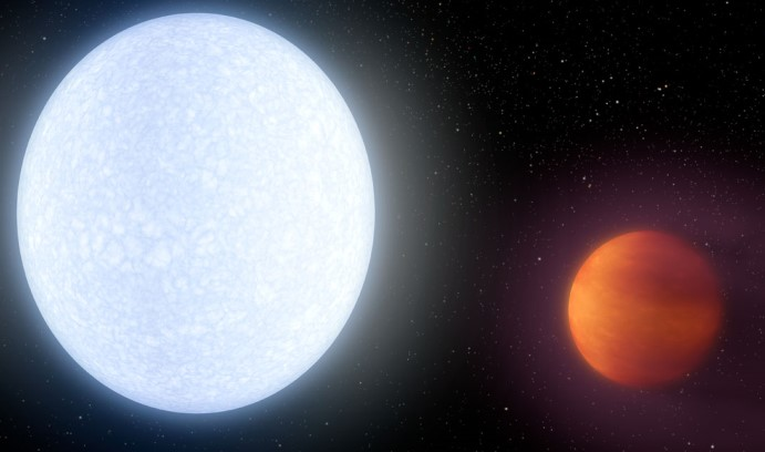 The giant gassy planet KELT-9b (right), an international research group reports today in the journal Nature, takes only 1.5 days to complete a revolution around its host star and is hotter than most stars. (Image by NASA/JPL-Caltech/R. Hurt (IPAC))