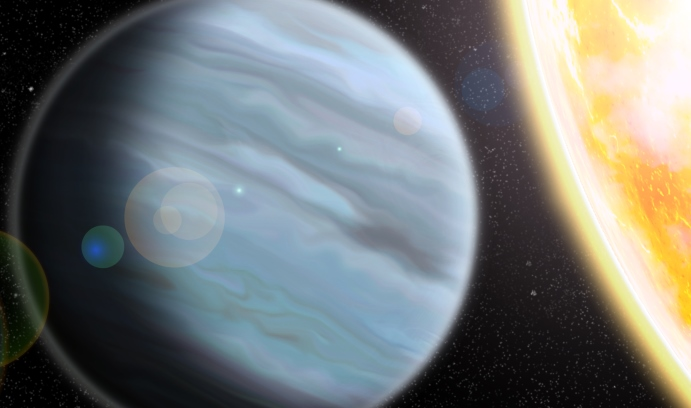 "An artist's rendering of KELT-11b, a ""Styrofoam-density"" planet recently discovered by Lehigh astronomers that orbits a bright star in the Southern Hemisphere. (Image by Walter Robinson/Lehigh University)"