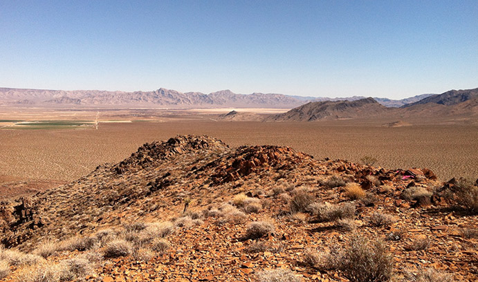 The Nopah Range in near Death Valley National Monument contains limestone deposits more than 550 million years old. The deposits, says Ken Kodama, offer clues to the Earth's ancient natural climate cycles. (Photo courtesy of Ken Kodama)
