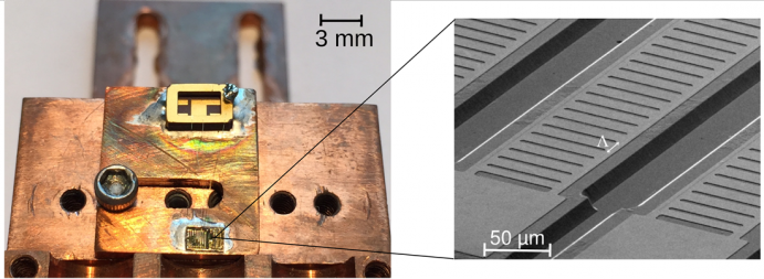A semiconductor laser chip (lower left, center) measuring approximately 3mm x 1.5mm contains 10 lasers. A scanning electron microscopy magnification (right) shows one of the laser cavities.