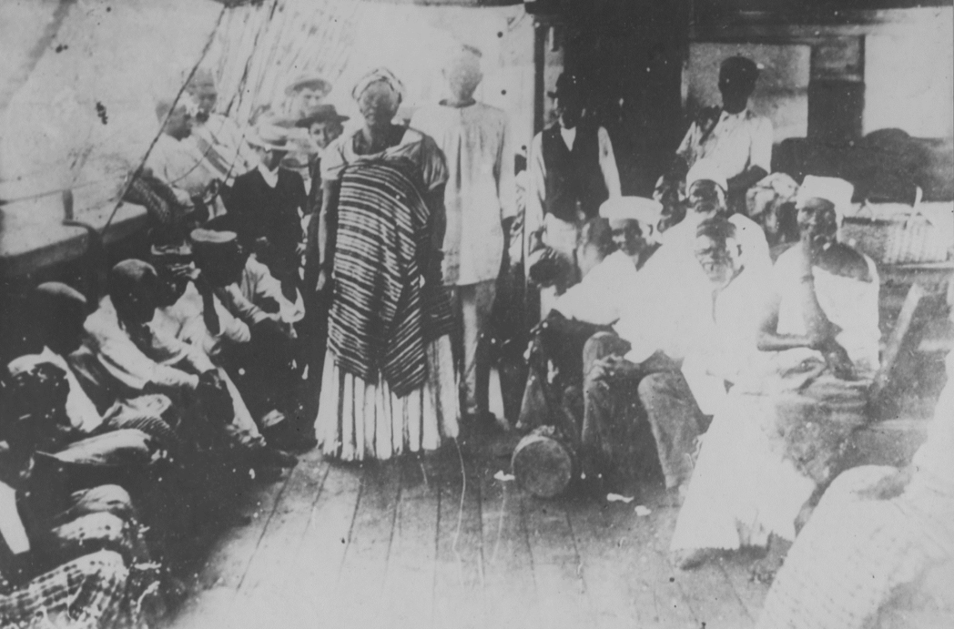 Freed slaves in the cargo hold of a ship returning to Africa