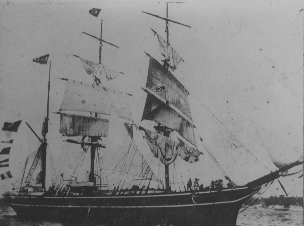 Ship journeying from Brazil to Africa