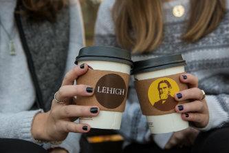 Coffee cups with Lehigh logos