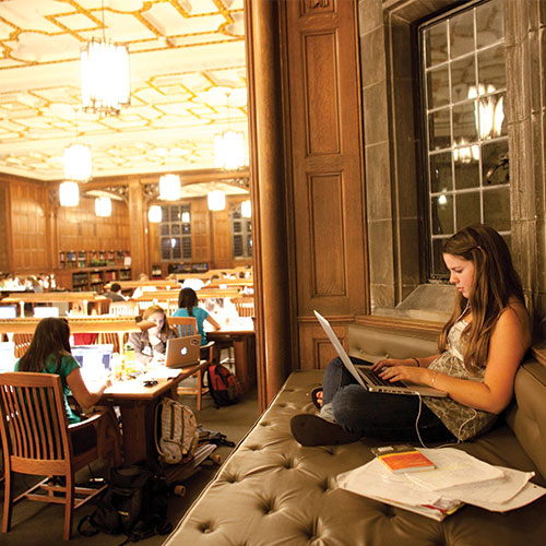 Student working on a laptop in Linderman Library