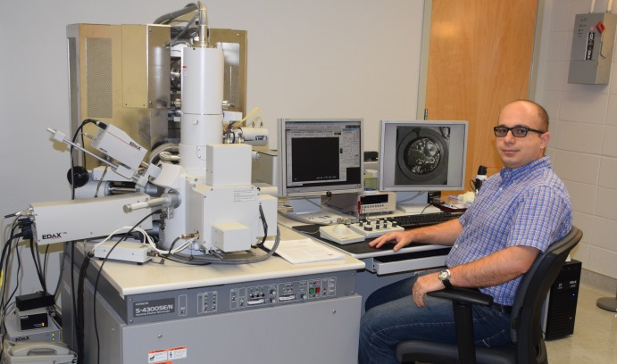 During his stay last fall as a Postdoctoral Fellow at the Loewy Institute, Javad Samei used Lehigh's scanning electron microscopes to analyze steel sheets that are used in the automotive industry. (Photo courtesy of Javad Samei)