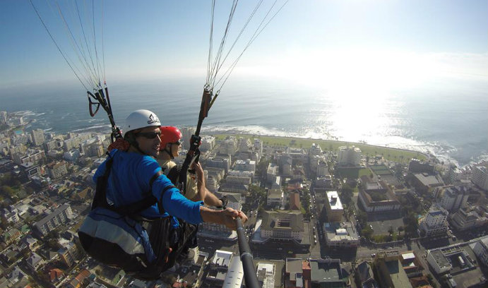 Accounting major Domenic DeNiro, who interned with Deloitte LLP in Johannesburg, South Africa, goes paragliding.