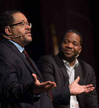 Author Michael Eric Dyson holds a discussion with James Peterson.