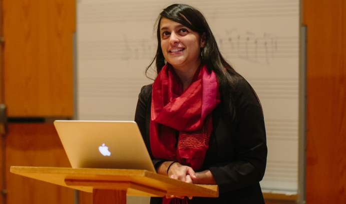"Composer Reena Esmail gives a presentation to Lehigh student musicians in the Zoellner Arts Center. Esmail's ""I Rise: Women in Song"" was given its world premiere by Lehigh University Choral Arts on Nov. 4."