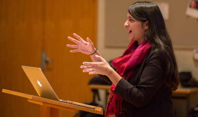 """Composer Reena Esmail gives a presentation to Lehigh student musicians in the Zoellner Arts Center. Esmail's """"I Rise"""" will be given its world premiere by Lehigh University Choral Arts tonight (Friday, Nov. 4) and tomorrow night in Baker Hall. (Photo by Ch"""