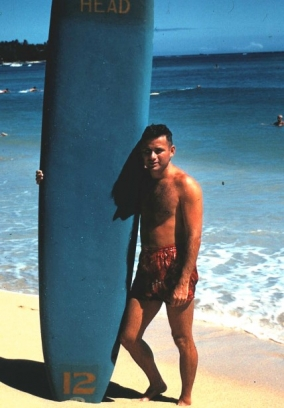 "A lifelong swimmer and surfer, Schaefer (shown here in a photo taken in 1959 at Waikiki Beach in Hawaii) was known as ""Fish"" during his days at Lehigh. (Photo courtesy of Mark Schaefer)"