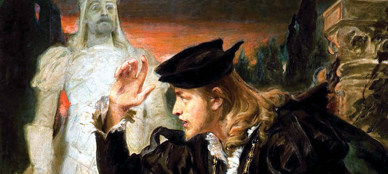 Painting of Hamlet holding skull with ghost in background.