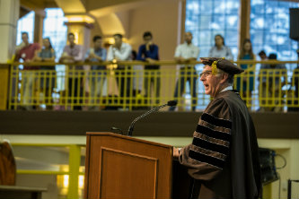 President John Simon speaks at Lehigh convocation
