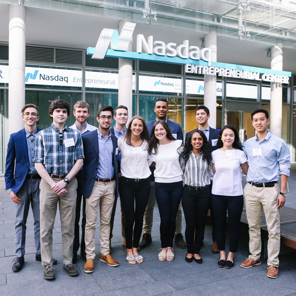 Lehigh students at Nasdaq center