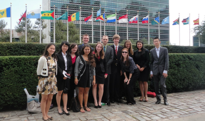 Lehigh students in front of United Nations headquarters