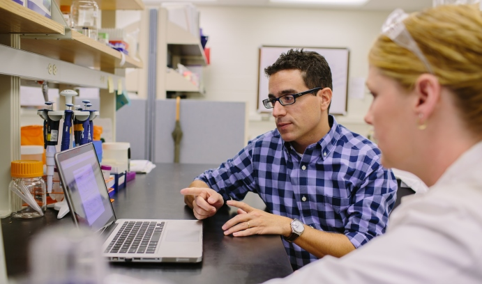 Damien Thévenin, assistant professor of chemistry, and Ph.D. candidate Kelly Burns in the lab