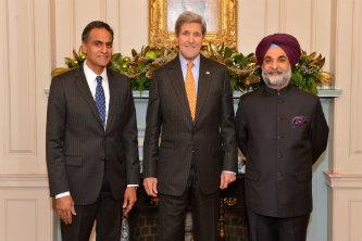 Verma and Kerry pose with Ambassador Taranjit Singh Sandhu
