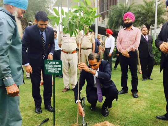 Verma took time to plant a tree on an official visit to the Indian state of Punjab, ancestral home of his family, in October 2015. (Photo courtesy of U.S. Embassy in New Delhi)