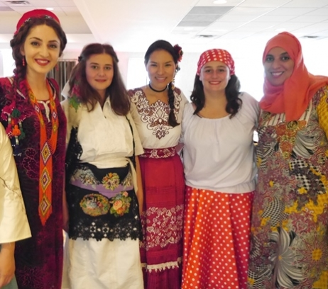 At the Opening Gala, (from left) Shamsiya Rakhimshoeva of Tajikistan, Shpresa Frrokaj (Kosovo), Gabriela Villegaes Montoya (Peru), Alexandra Parra del Riego (U.S./ Peru) and Fatma Al Maamari (Oman) provided a glimpse of their native cultures.
