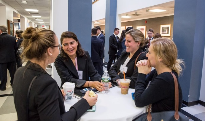 The opportunity to network and make valuable connections with alumni is a popular feature for students attending the Financial Services Forum held annually by Lehigh's Wall Street Council.