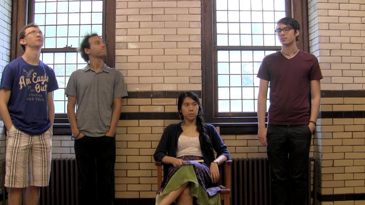 The students (l-r: Schaedler, Setton, Huang and Marinkovic) say they were able to locate many online resources about Szymborska by conducting searches of her name spelled with Polish letters.