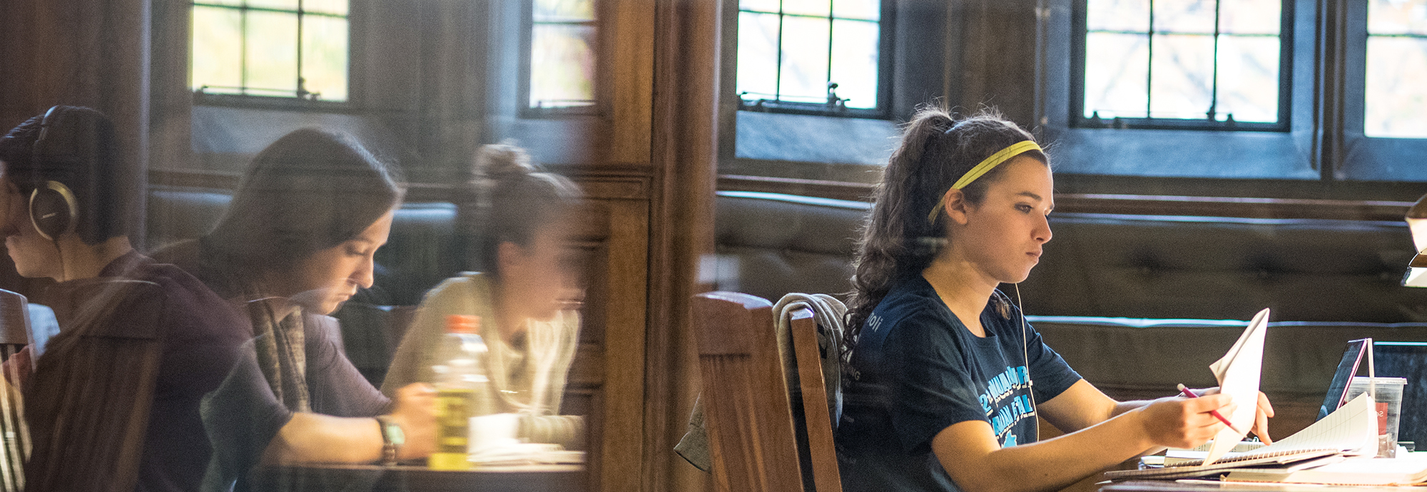 Students studying in Linderman Library at Lehigh University